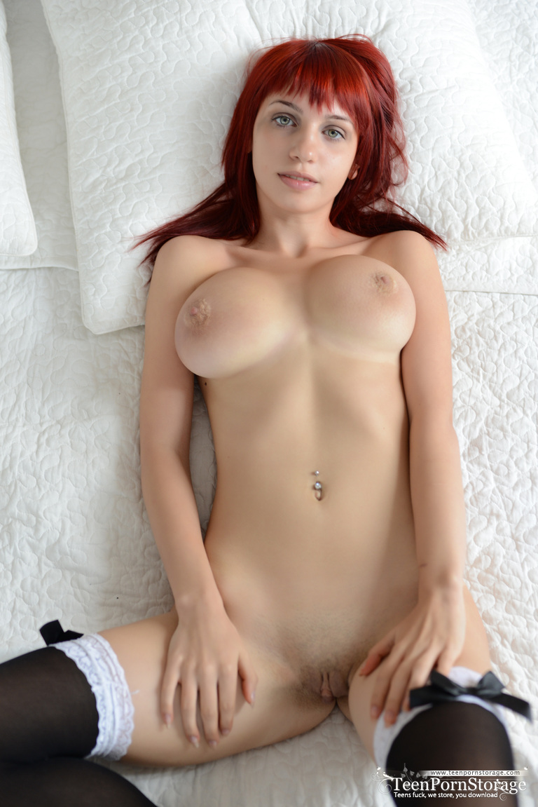 Red Haired Horny Chick In Black Stocking Having Big Boobs -6986